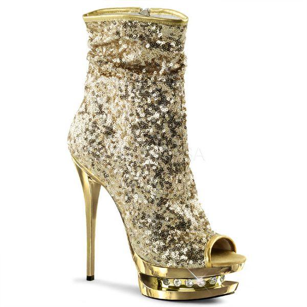 Open Toe Stiefelette mit goldfarbenen Pailletten und goldfarben verchromtem strassbesetztem Plateau BLONDIE-R-1008